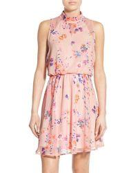 Sienna Sky - Floral Print Mock Neck Skater Dress - Lyst