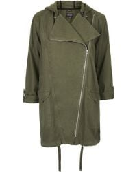 Topshop Waterfall Front Parka Jacket - Lyst