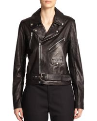 Band of Outsiders Leather Biker Jacket - Lyst