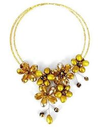Aeravida - Golden Lush Freshwater Dyed Gold Pearl Floral Wrap Necklace - Lyst