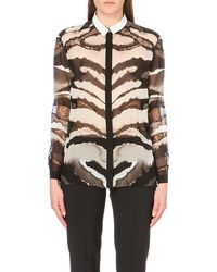 Roberto Cavalli Lace-insert Zebra-print Silk Shirt - Lyst