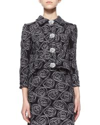 Oscar de la Renta Rose Swirl Embroidered Tweed Jacket - Lyst