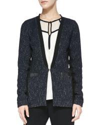 Nanette Lepore Scandal Leathertrim Tweed Jacket Midnight 8 - Lyst