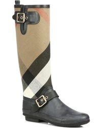 Burberry Birkback Check Kneehigh Rain Boots - Lyst