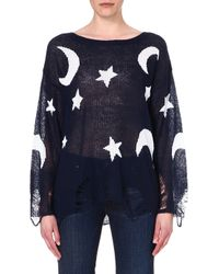 Wildfox Lennon Knitted Jumper Navywhite - Lyst