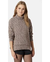 Topshop Women'S Cocoon Funnel Neck Sweater - Lyst