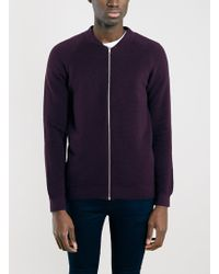 Topman Plum Ribbed Knitted Bomber Jacket - Lyst