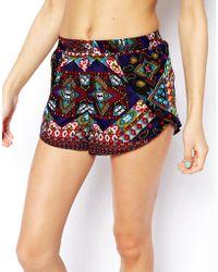 Asos Mirror Embellished Beach Shorts - Lyst