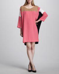 Donna Karan New York Colorblock Squareprint Dress - Lyst