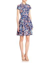 Diane von Furstenberg Scarlet Pleated Floral Print Dress floral - Lyst