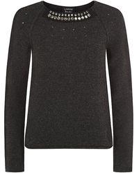 Lanvin Jewel Neck Wool Sweater - Lyst