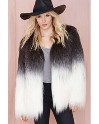 Nasty Gal Maison Scotch Fade Out Faux Fur Jacket - Lyst