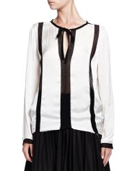 Lanvin White Contrast-embroidered Blouse - Lyst