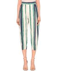 Chloé Stripe-Print Cropped Trousers - Lyst
