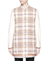 Chloé | Plaid Check Wool Bomber Coat | Lyst