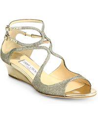 Jimmy Choo Inka Glitter LamÉ Demi-Wedge Sandals gold - Lyst