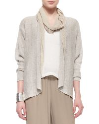 Eileen Fisher Rustic Speckled Open Cardigan brown - Lyst