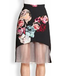 Honor Floral Pleatedinsert Skirt - Lyst