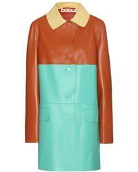 Marni Leather Coat - Lyst