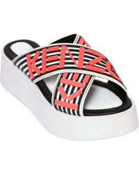 Kenzo 50Mm Logo Leather Wedge Sandals - Lyst