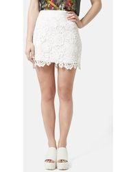Topshop Crochet Lace Miniskirt - Lyst