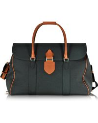 Pineider | Country Dark Grey Fabric And Brown Leather Travel Bag | Lyst