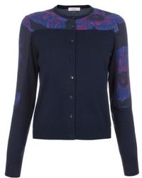 Paul Smith Women'S Navy Wool-Cotton Cardigan With Floral Panels blue - Lyst