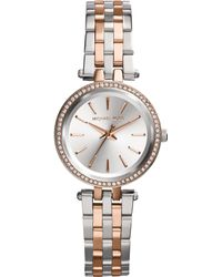 Michael Kors Women'S Petite Darci Two-Tone Stainless Steel Bracelet Watch 26Mm Mk3298 - Lyst