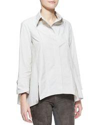 Donna Karan New York Long-Sleeve Button-Up Cotton Shirt - Lyst