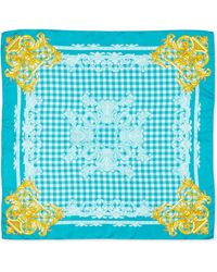 Versace Silk Check-Print Square Scarf - Lyst