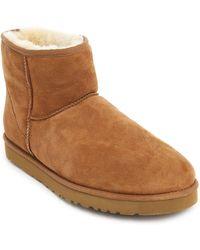 Ugg Classic Mini Beige Boots In Suede M - Lyst
