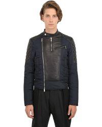 DSquared2 Padded Nylon  Leather Moto Jacket - Lyst