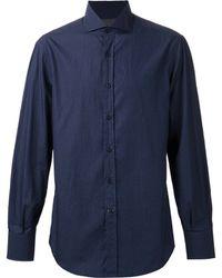 Brunello Cucinelli Spread Collar Micro Dot Shirt blue - Lyst