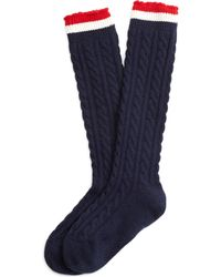 Brooks Brothers Navy Cable Knit Socks - Lyst