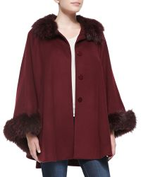 Sofia Cashmere Fur-Trimmed Button-Front Cape Coat red - Lyst