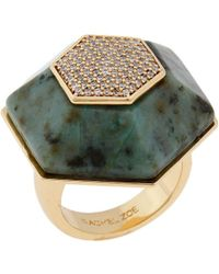 Rachel Zoe Naodelite And 12K Gold Plated Ring - Lyst