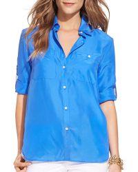 Ralph Lauren Lauren Silk Utility Shirt - Lyst