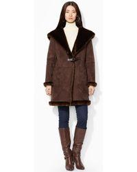 Lauren by Ralph Lauren Brown Hooded Coat - Lyst