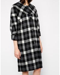 YMC Collarless Checked Coat With Cropped Sleeves - Lyst