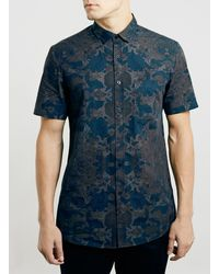 Topman Grey Floral Short Sleeve Shirt - Lyst