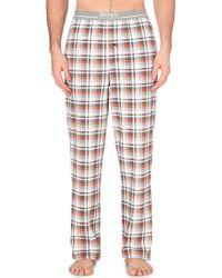 Hugo Boss Checkered Cotton Jersey Pyjama Bottoms - For Men - Lyst