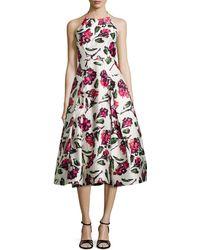 Milly Floral Halter Tea-Length Dress - Lyst