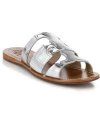 Tory Burch Anchor Metallic Leather Slide Sandals silver - Lyst