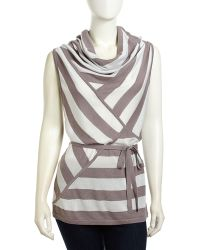 L.a.m.b. Striped Woven Adjustable Sweater - Lyst