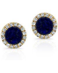 Anne Sisteron 14Kt Yellow Gold Lapis Lazuli Diamond Round Stud Earrings - Lyst