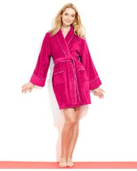 Tommy Hilfiger Purple Plush Robe - Lyst