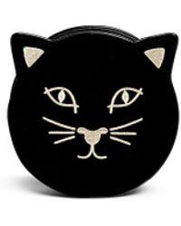 Charlotte Olympia 'Pussycat Purse' Velvet Crossbody Bag black - Lyst