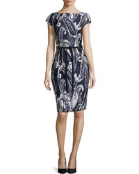 ESCADA Paisley-Print Jacquard Belted Dress - Lyst