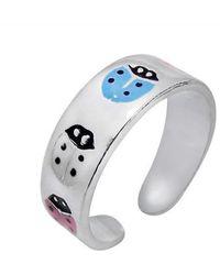 Aeravida - White/pink Beetle/lady Bug .925 Silver Toe/pinky Ring - Lyst