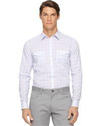 Calvin Klein Plaid Shirt white - Lyst